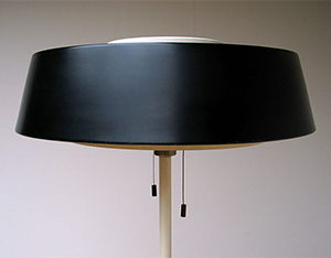 1950 metal industrial floor lamp on tri-pod base Hiemstra