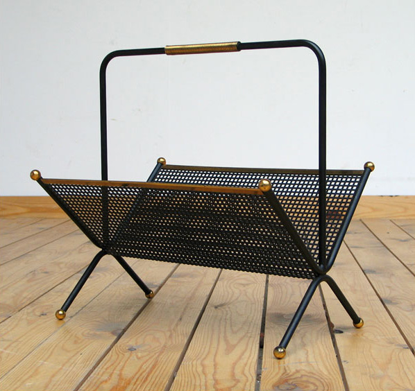 1950 metal magazine rack eames era