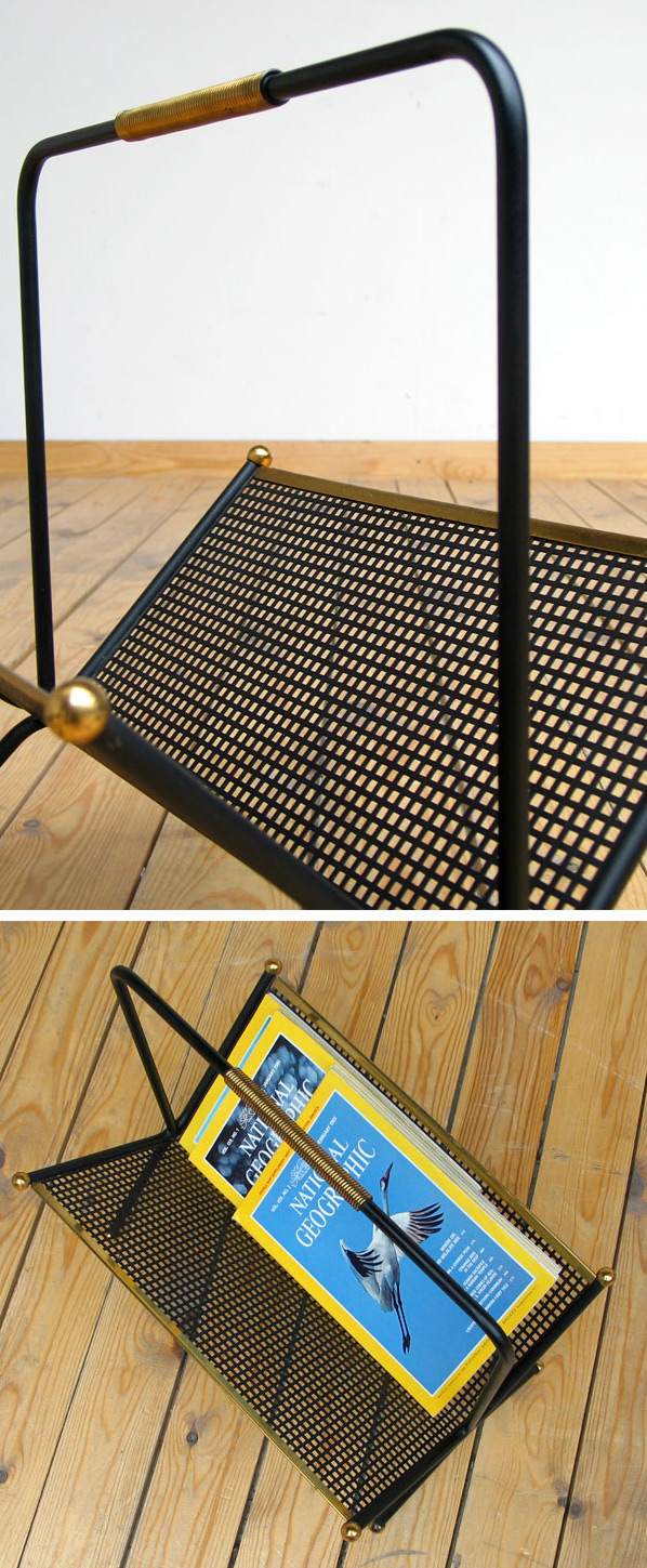 1950 metal magazine rack eames era Large