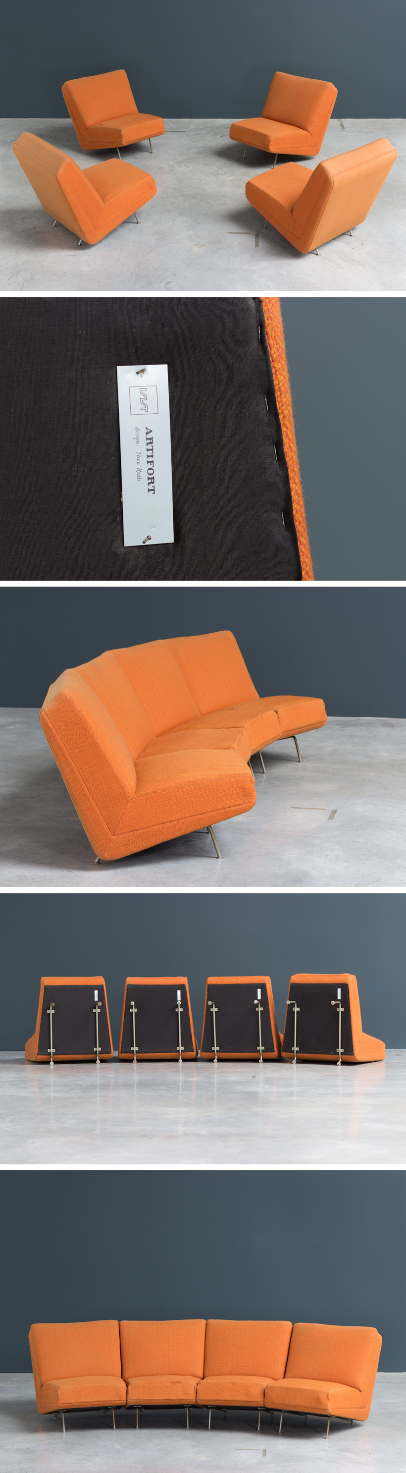 1950s Theo Ruth sectional sofa made by Artifort Large
