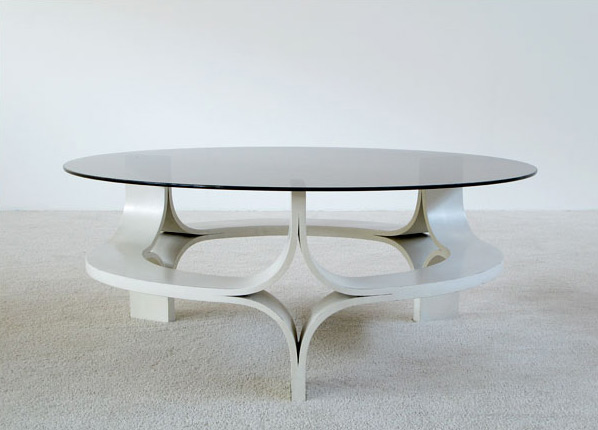 1967 decorative white plywood coffee table