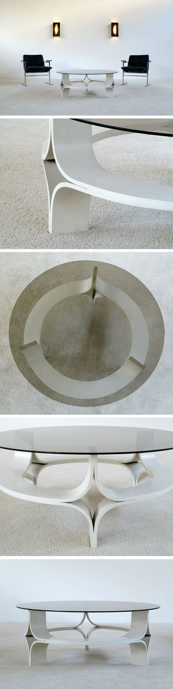 1967 decorative white plywood coffee table Large