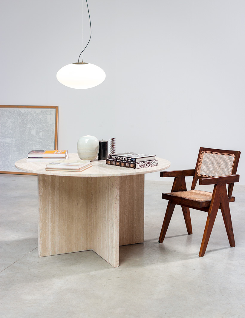 1970 architectural travertine dining or centre table