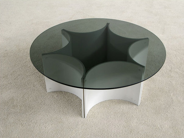 1970 low white plywood star form coffee table