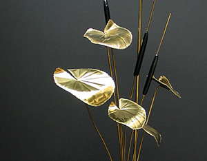 1980 modern french brass flower lamp