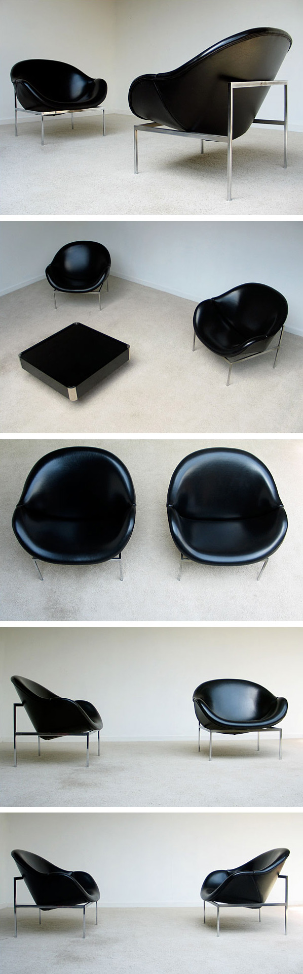 2 black large lounge easy chairs 1970 Large