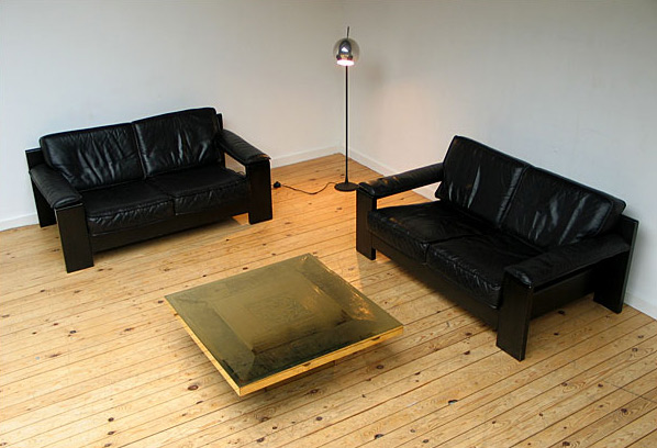 2 black leather Modern Leolux sofa's 1970