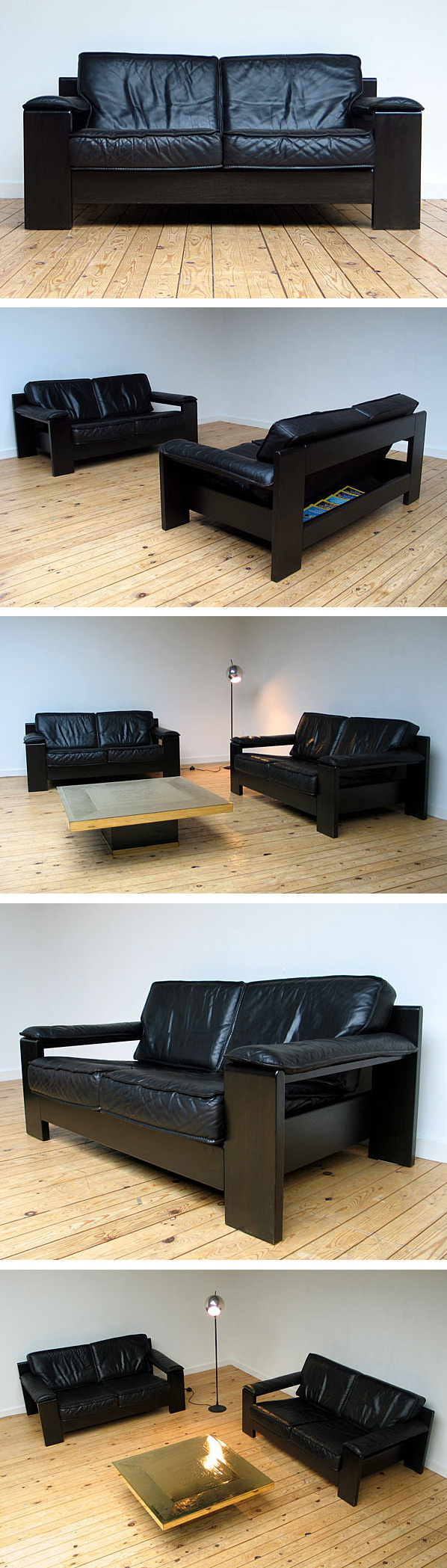 2 black leather Modern Leolux sofa's 1970 Large