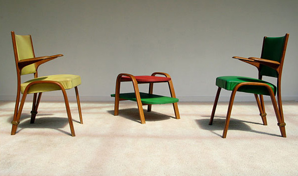 2 chairs and coffee table Bow-Wood for Steiner 1950