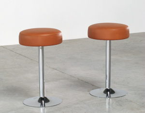 2 Chrome Bar Stools in Cognac Leather