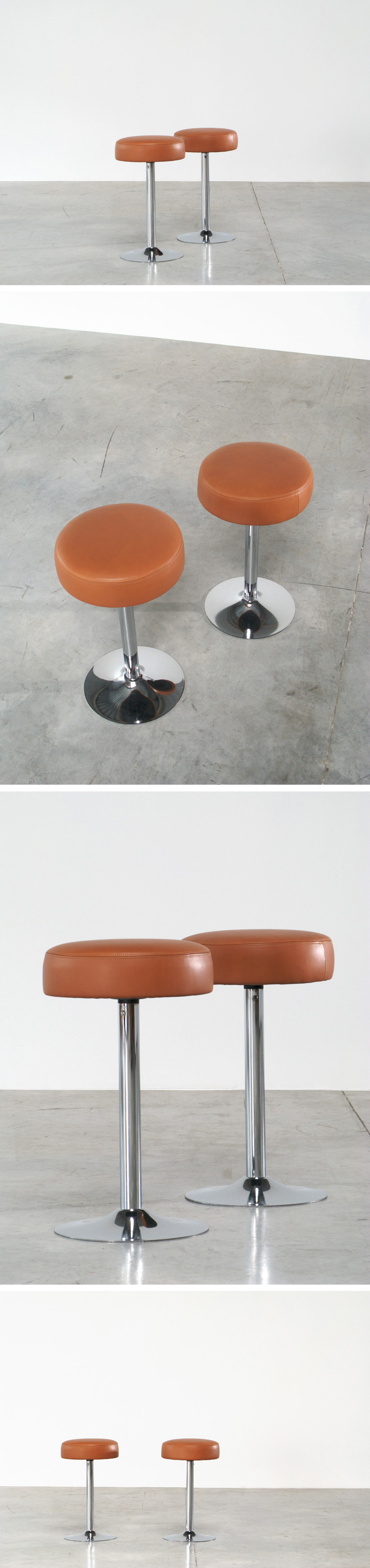 2 Chrome Bar Stools in Cognac Leather Large