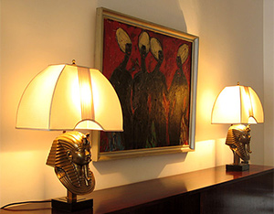 2 decorative Toutankhamon table lamps