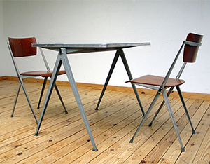 2 industrial Pyramid chairs and table Wim Rietveld De Cirkel