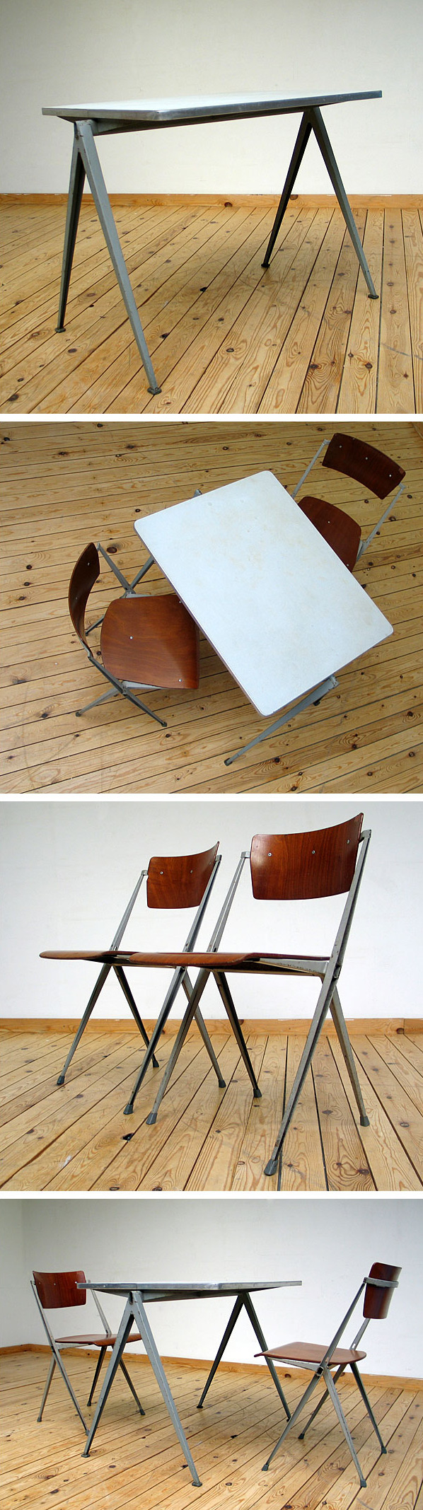 2 industrial Pyramid chairs and table Wim Rietveld De Cirkel Large