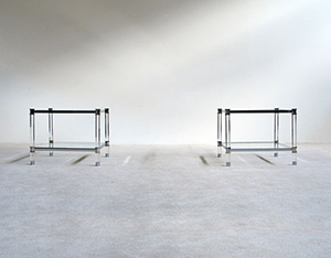 2 lucite chrome side tables Karl Springer