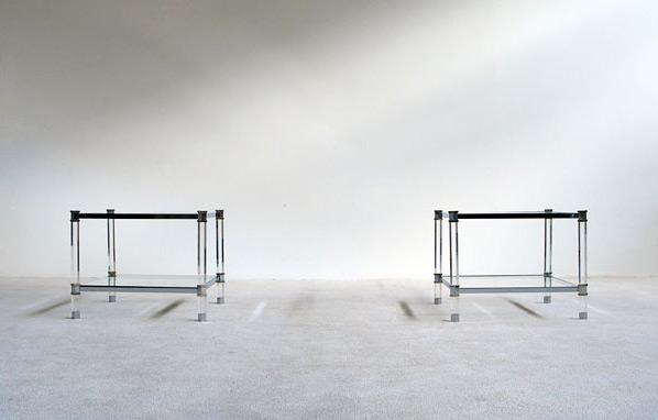 2 lucite chrome side tables Karl Springer