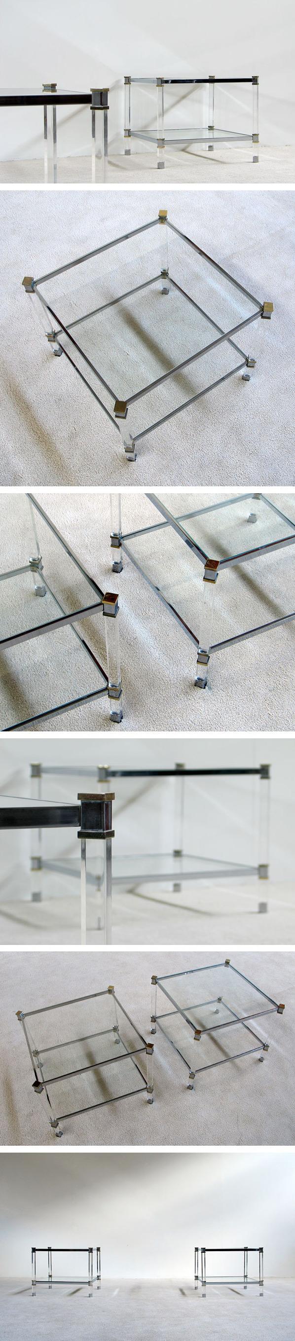 2 lucite chrome side tables Karl Springer Large