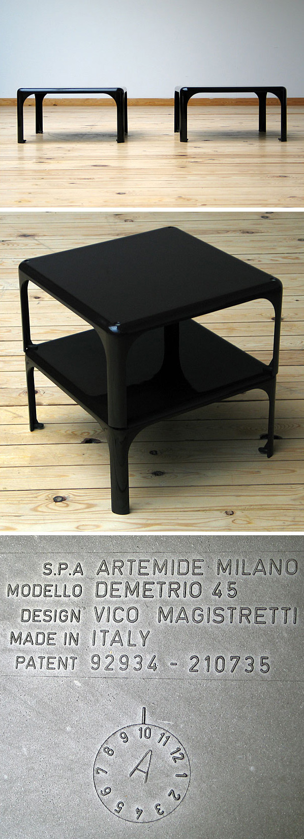 2 side tables Demetrio 45 Vico Magistretti Artemide Large