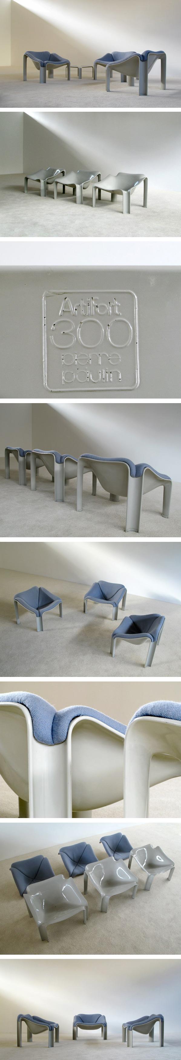 3 chairs F300 series Pierre Paulin Artifort Large
