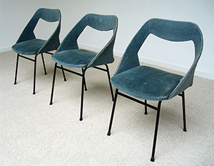 3 chairs in blue velvet Joseph-Andre Motte for Steiner