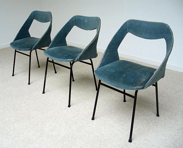 3 chairs in blue velvet Joseph-Andre Motte for Steiner