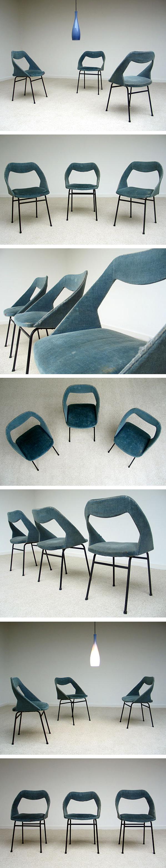 3 chairs in blue velvet Joseph-Andre Motte for Steiner Large