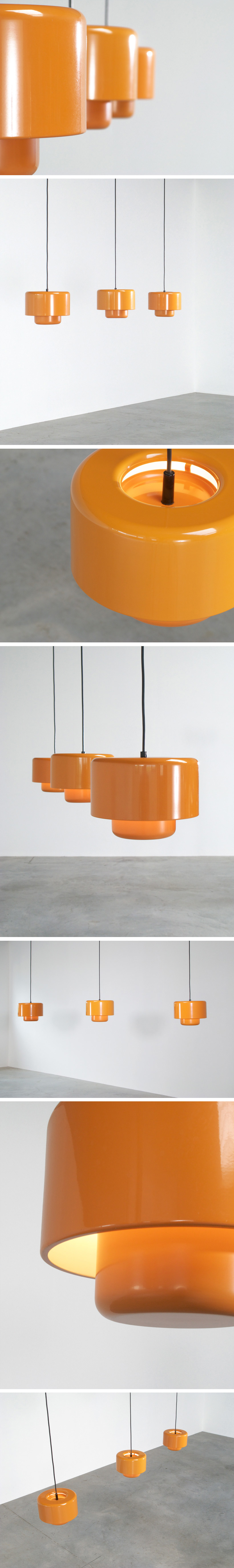 3 Fog and Murop metal orange pendant lights Large