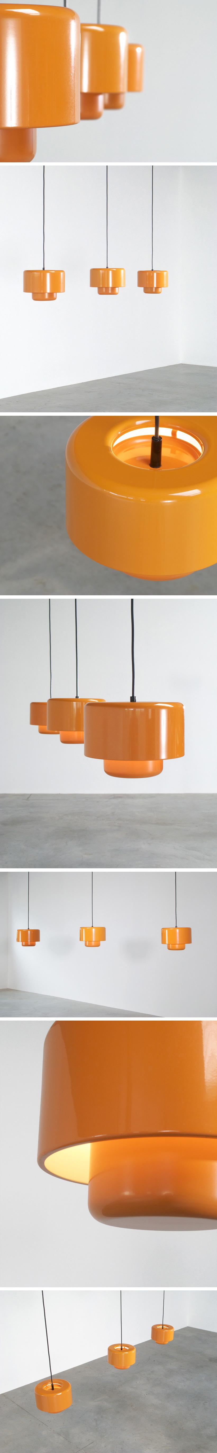 3 Fog and Murop metal orange pendant lights Large