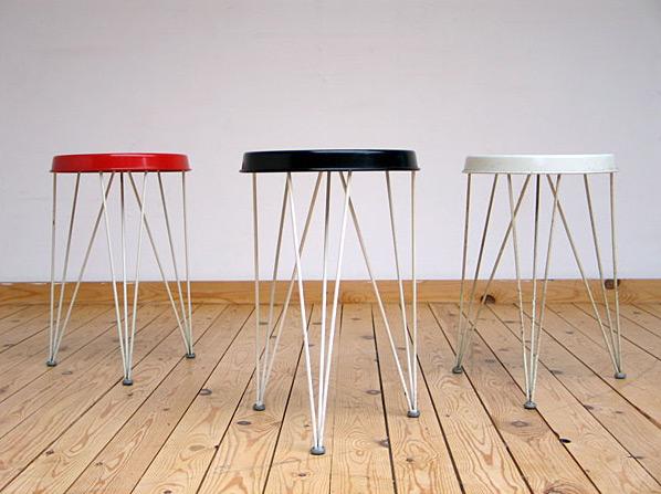 3 metal industrial Pilastro stools 1950