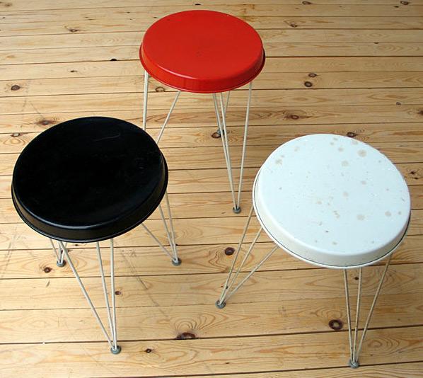 3 metal industrial Pilastro stools 1950 Large