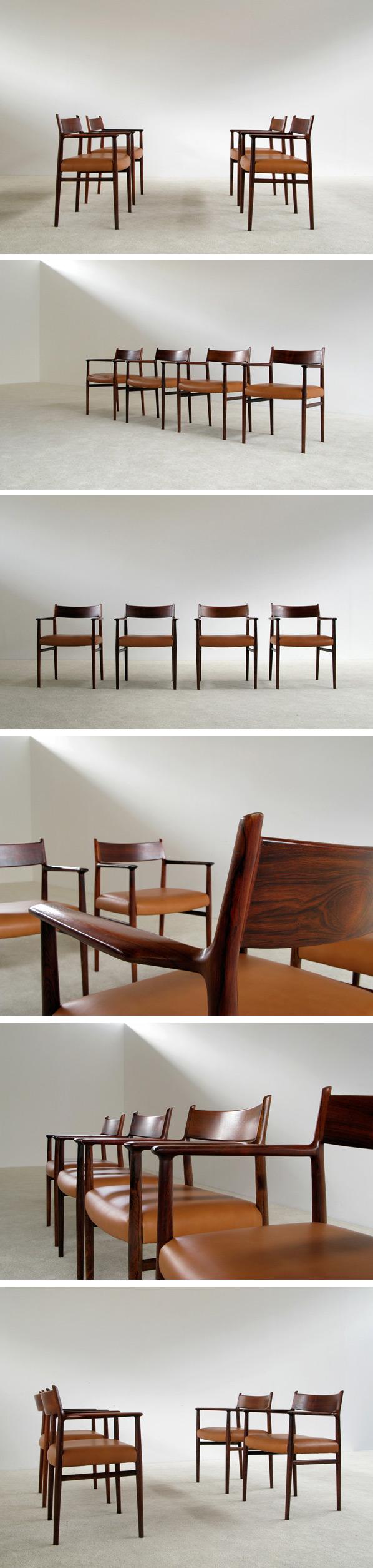 4 Arne Vodder Dinning chairs Sibast Mobler Large