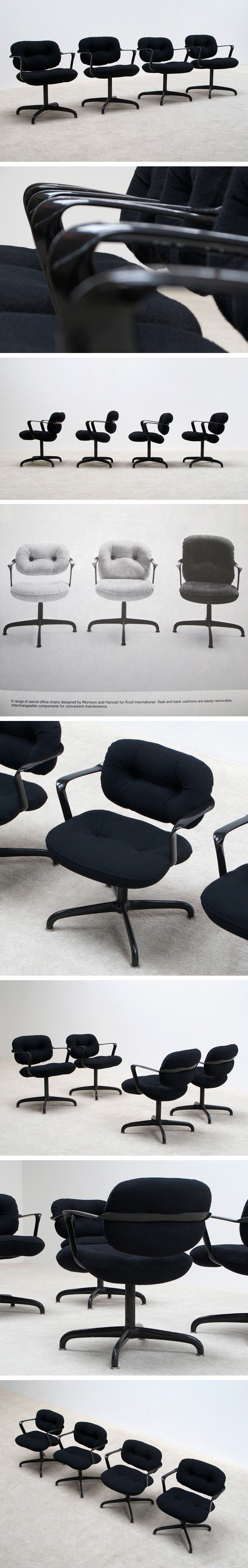 4 chairs model 2338 by Morrison and Hannah for Knoll International Large