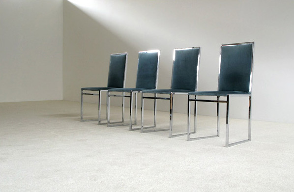 4 chrome dinning chairs Willy Rizzo