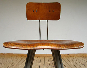 4 industrial architect chairs with plywood seats