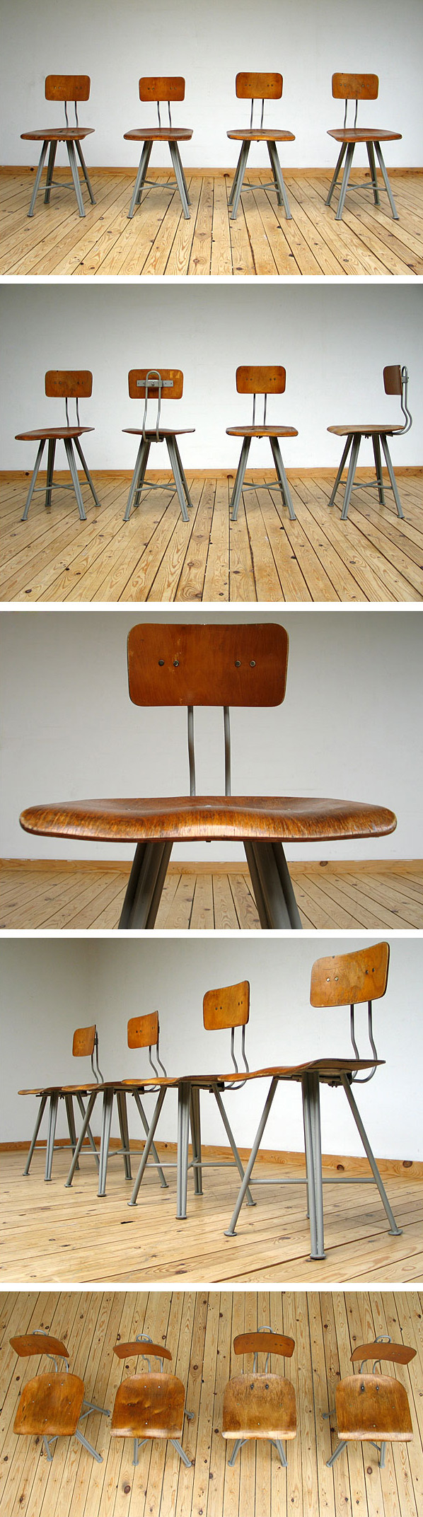4 industrial architect chairs with plywood seats Large