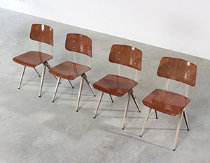 4 industrial compass chairs with plywood seating