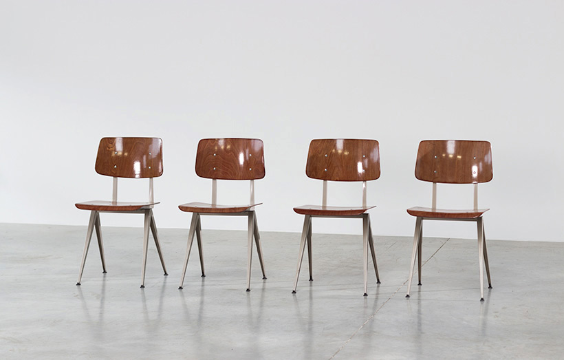 4 industrial compass chairs with plywood seating img 3