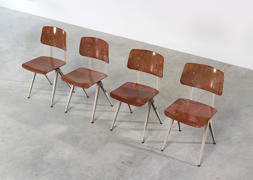 4 industrial compass chairs with plywood seating img 4