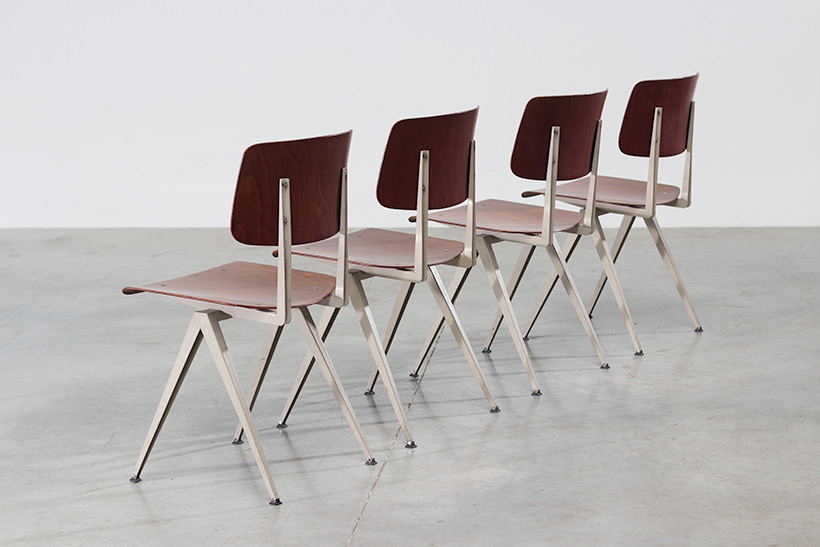 4 industrial compass chairs with plywood seating img 6