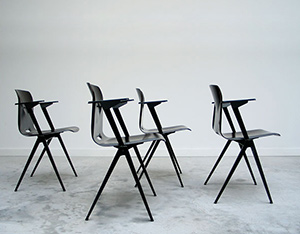 4 industrial plywood school chairs