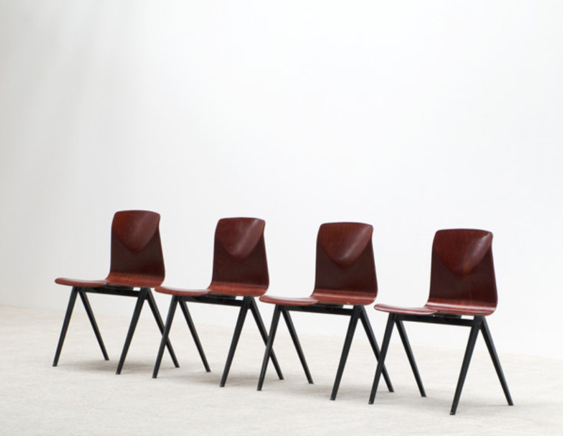 4 industrial plywood school compass chairs