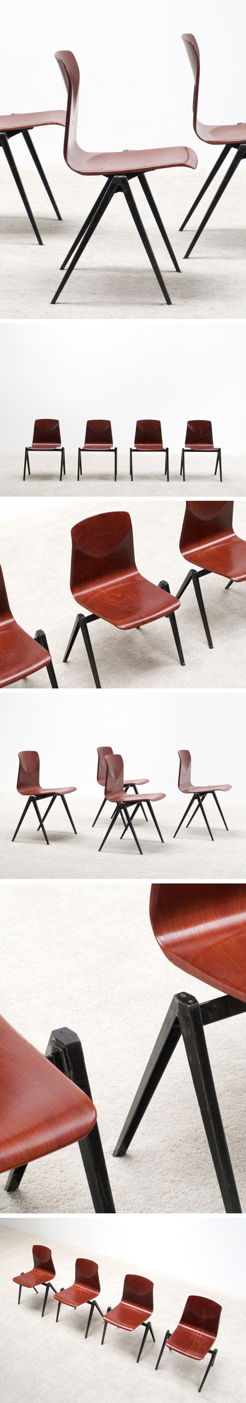4 industrial plywood school compass chairs Large