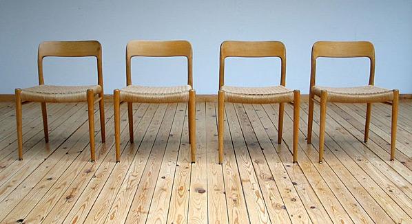 4 Modern dinning chairs JL Moller Denmark