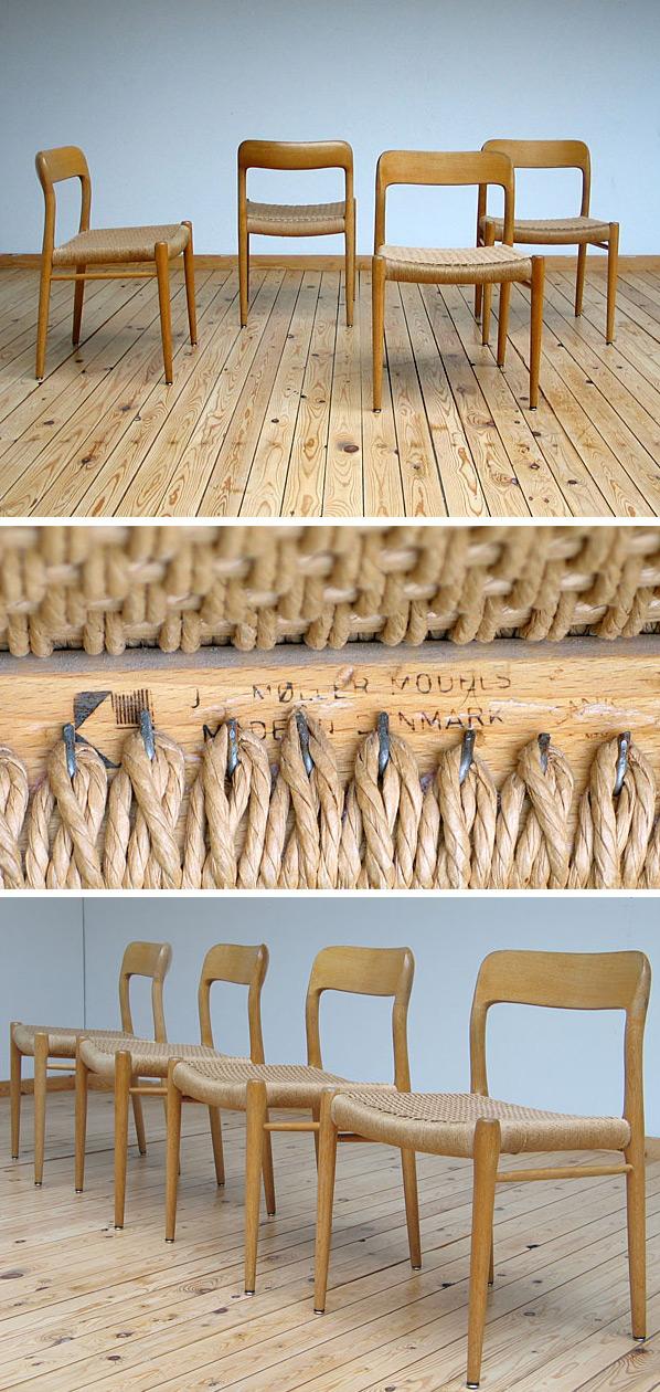 4 Modern dinning chairs JL Moller Denmark Large