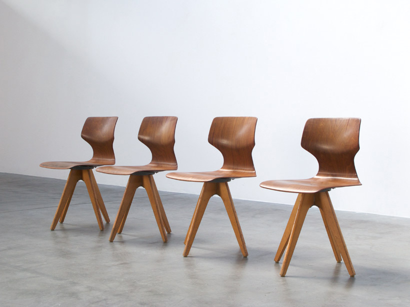 4 plywood school chairs