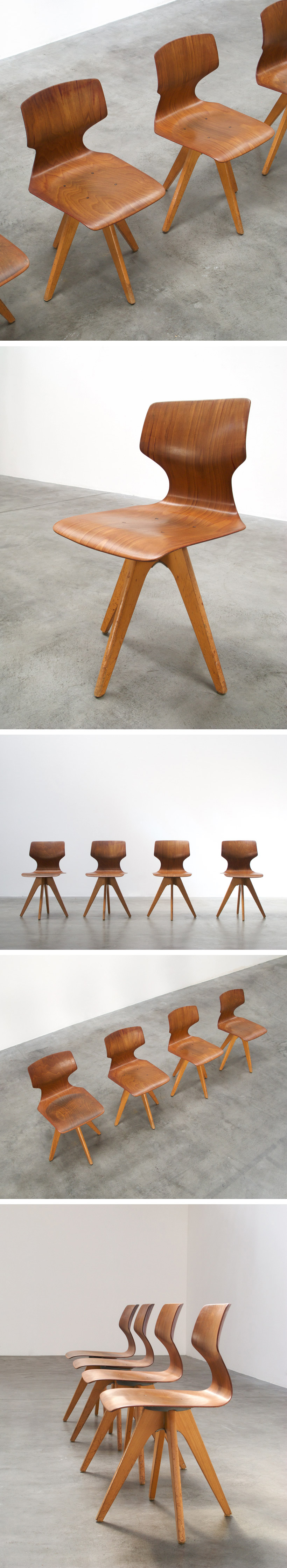 4 plywood school chairs Large