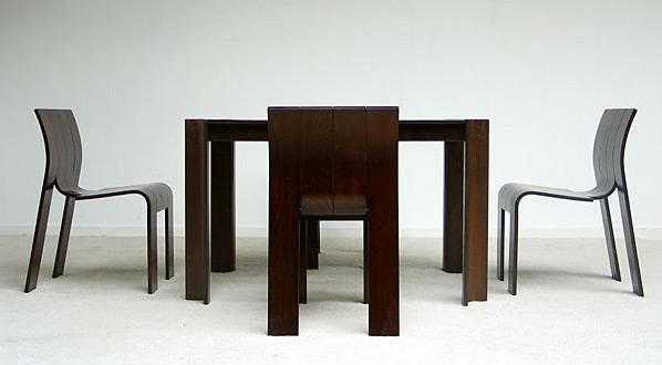 4 stripchairs SC and table Gijs Bakker Castelijn