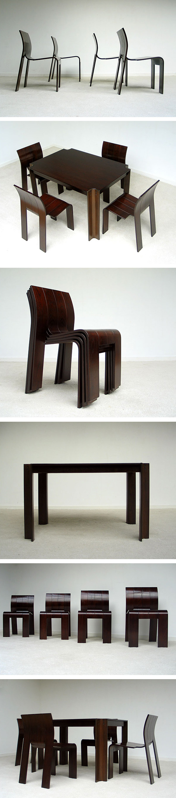 4 stripchairs SC and table Gijs Bakker Castelijn Large