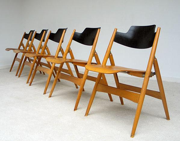 5 Folding chairs Model SE 18 Egon Eiermann