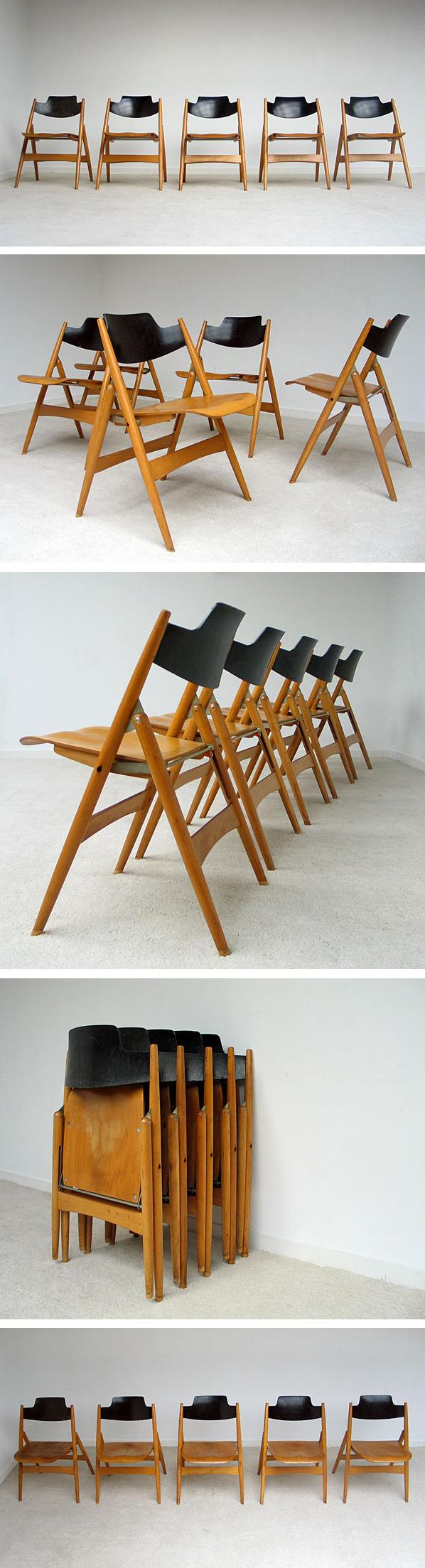 5 Folding chairs Model SE 18 Egon Eiermann Large